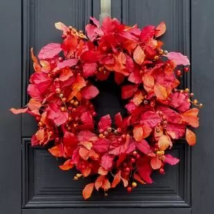 Autumn Magnolia Leaf and Berry Front Door Fall Silk Wreath