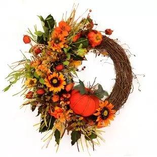 Fall Pumpkin and Hydrangea Wreath