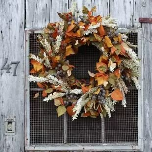 """Aspen Leaves and Heather, Berry 30"""" Silk Wreath"""