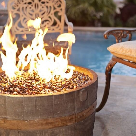 Rust Authentic Real-World Wine Barrel Liquid Propane/Natural Gas Fire Pit