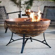 Red Ember Cabris Patchwork Iron Bowl Wood Burning Fire Pit with Stand