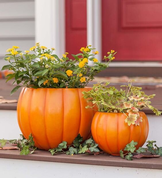 Pumpkin Planters, Set of Two