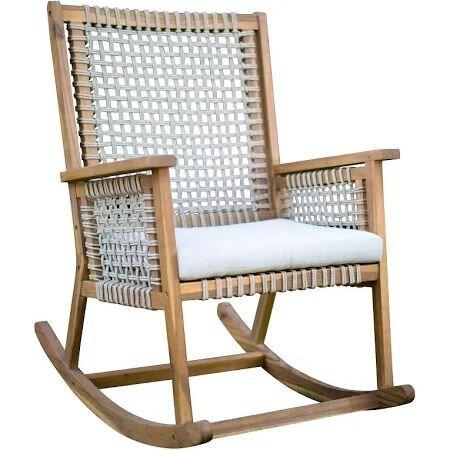 Belham Living Raeburn Rope and Wood Outdoor Rocking Chair