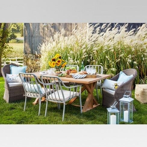 Morie Farmhouse 6 Person Wood Patio Dining Table - Threshold
