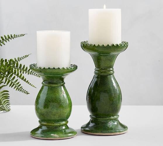 Hunter Green Ceramic Pillar Holders