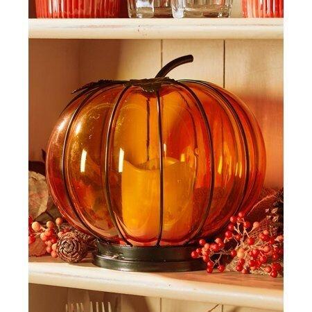 Lighted Glass Pumpkin Hurricane Lantern