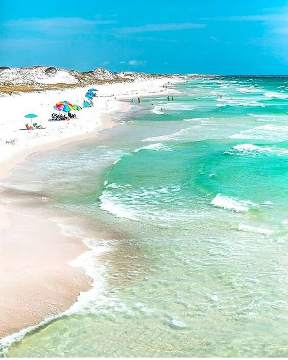 I wish I could tell you who took this photo or where this is? …The white sandy beaches are amazing and the shades of blue in the water is breathtaking!  So, beach pretty!