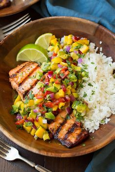 Grilled Lime Salmon with Mango-Avocado Salsa