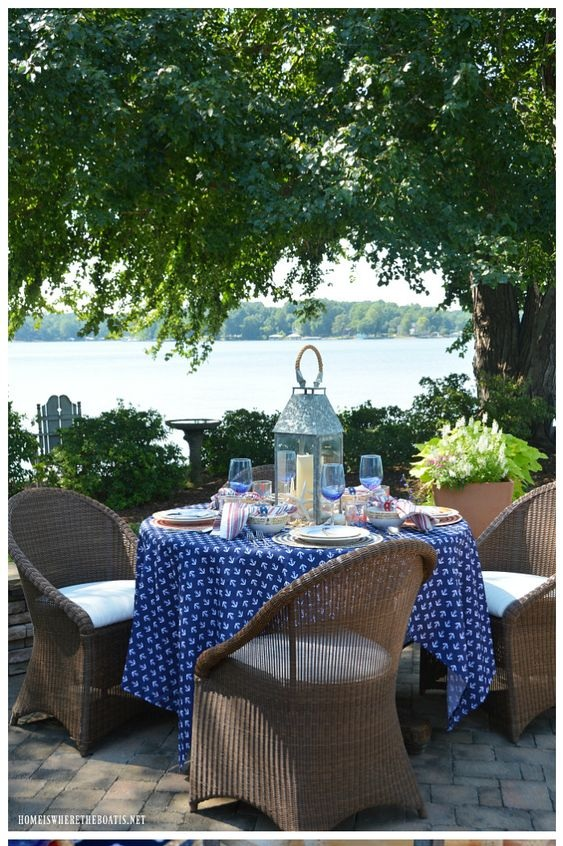 How fun is this tablescape, obviously a sea captain must live here! Start with a nautical tablecloth and add stripe napkins, coastal themed dishes, and a lantern centerpiece. A'hoy mate. Created by the blog  Homeiswheretheboatis .
