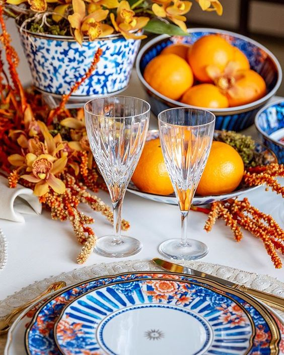 This tablescape is so vibrant + gorgeous! I just love the blue, white and orange color combination. If your'e planning a very special occasion and want to impress, than I suggest this is a tablescape to copy. Designed by  La Table de Giselle .