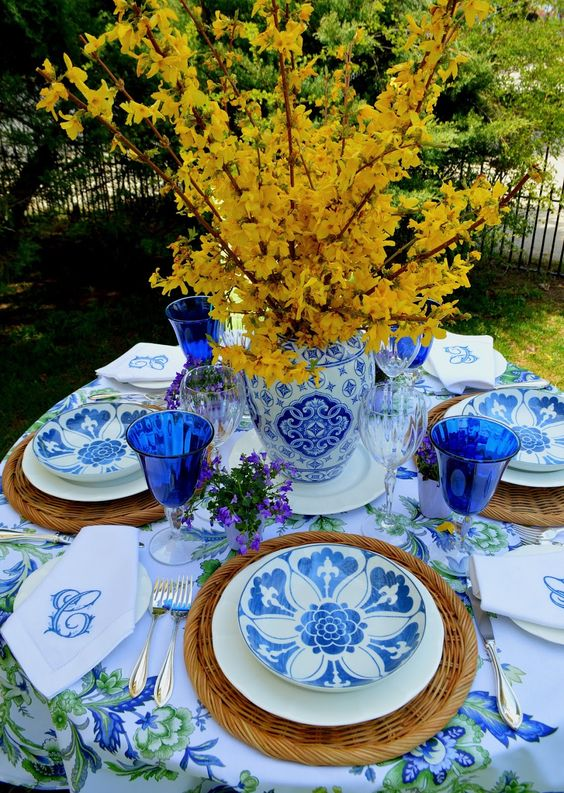 Styled by the  Rosemary & Thyme blog , Such as the gorgeous table in shades of blue and green, lovely blue + white dinnerware, and the prettiest hemstitch monogrammed napkins