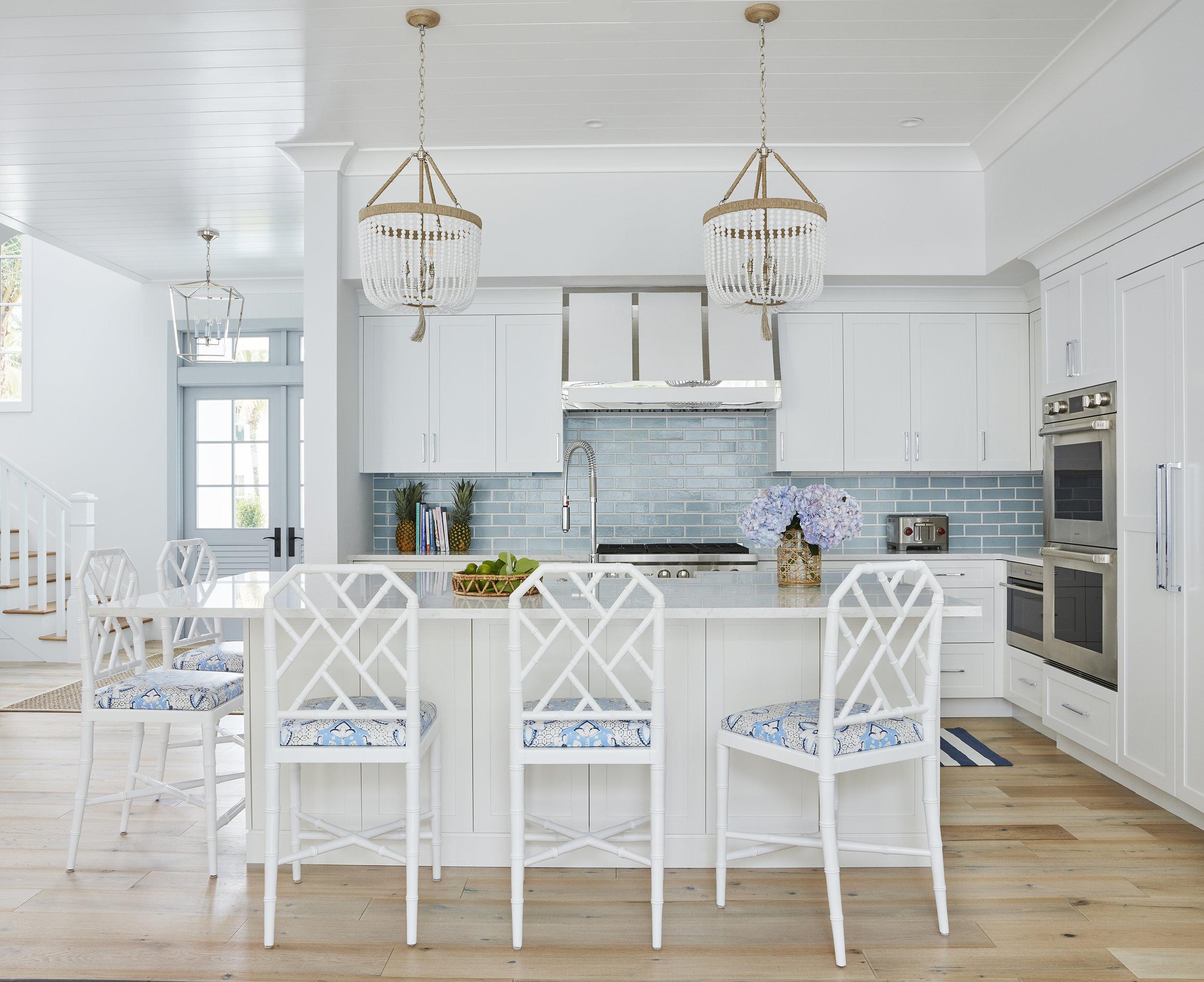 House Tour A Serene Blue White Beach House Interior