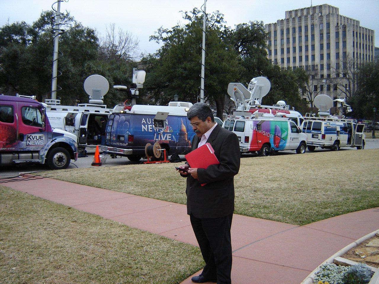 Arthur Cavazos working press row in Austin, TX