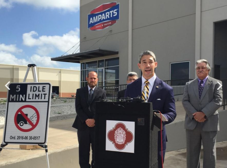 CPRA client AMPARTS teamed up with then District 8 Councilman Ron Nirenberg to help launch education campaign for Anti-Idling Ordinance.