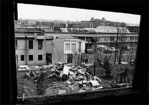 View from the window from where James Earl Ray fired on the day of the shooting.
