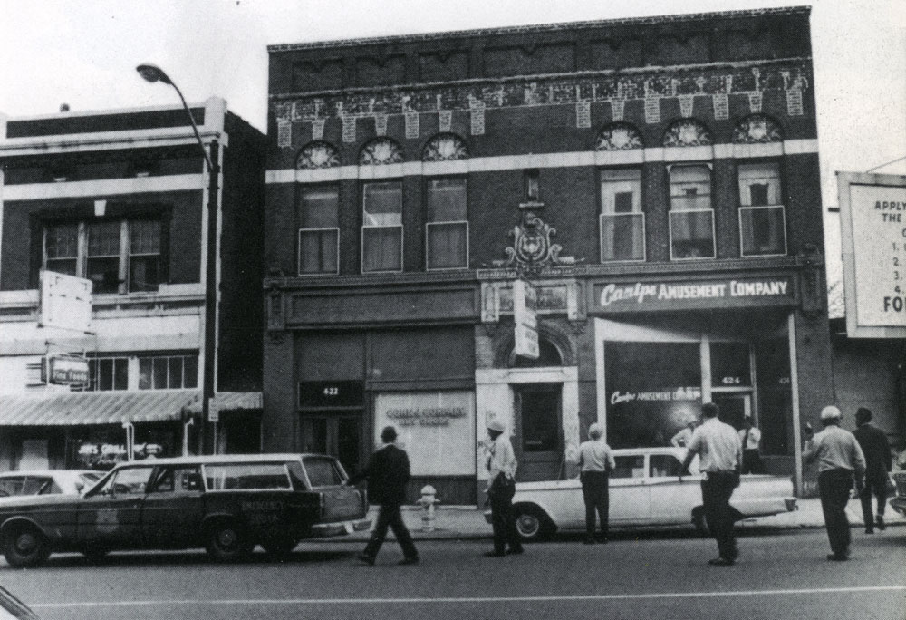 Authorities in front of the building on April 4, 1968.