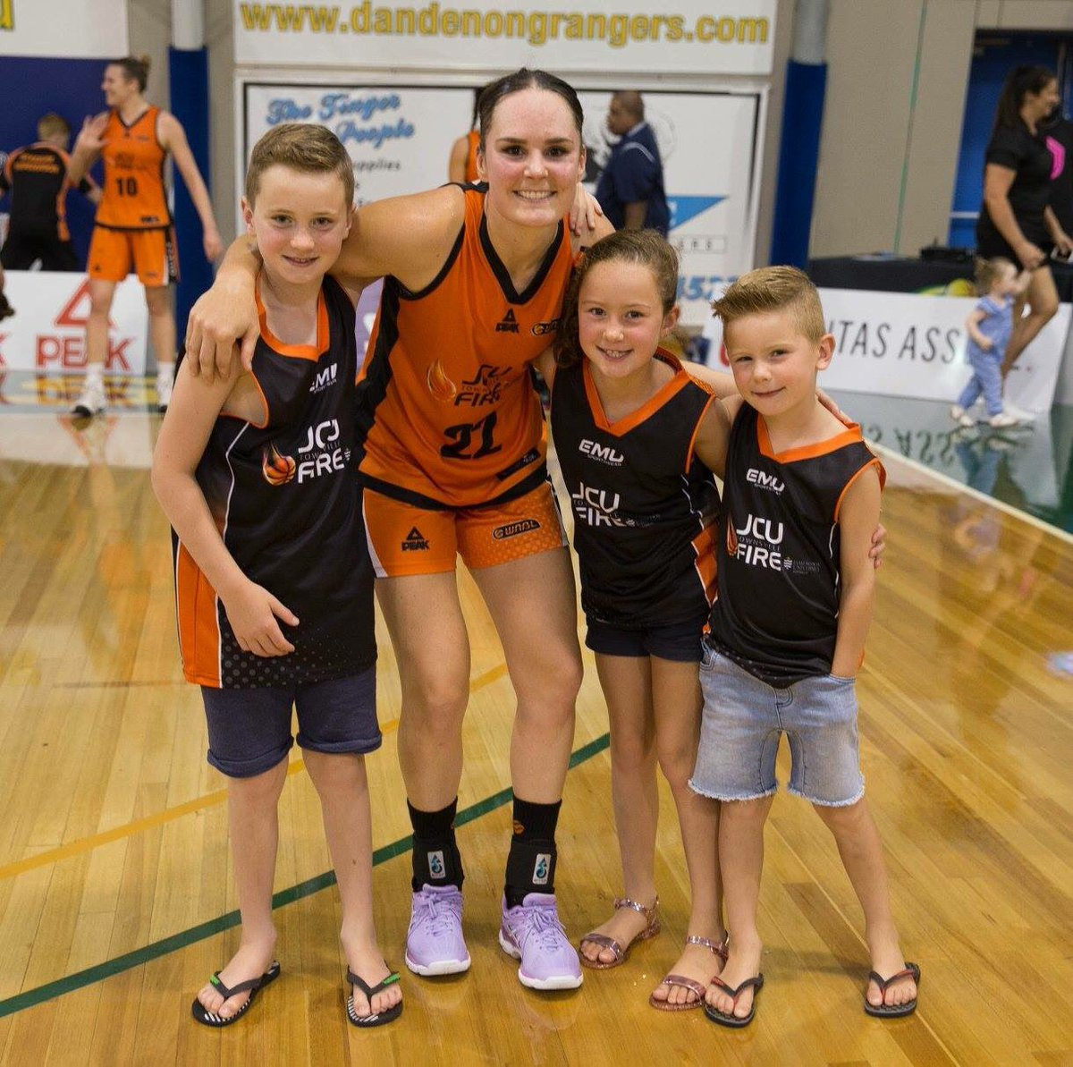 Kelly Wilson with some young fans.