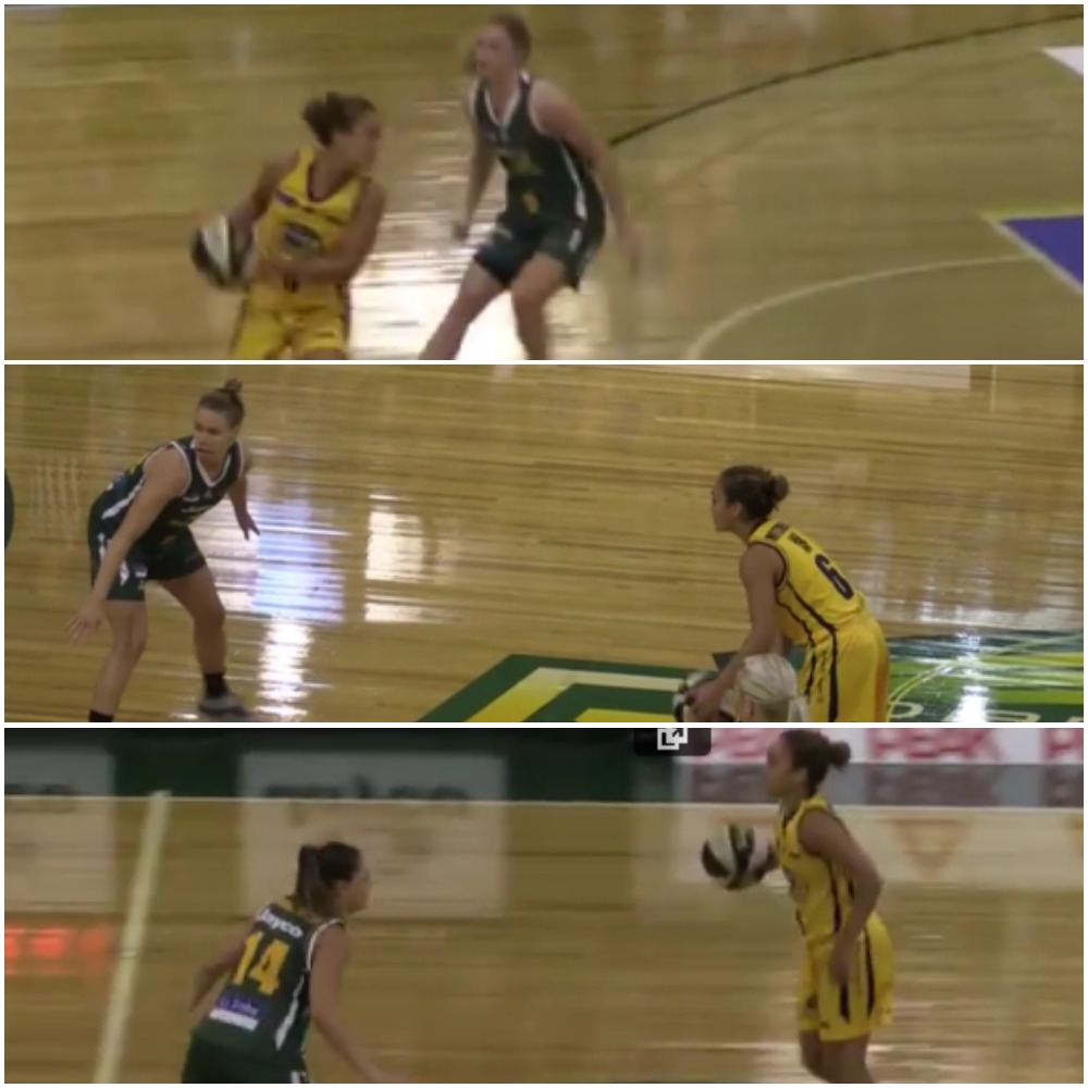 Dandenong had a switchy, versatile defence. In these stills from game 2 of the grand final series, Leilani Mitchell is guarded by (from top to bottom) Aimie Clydesdale, Natalie Novosel and Amelia Todhunter.