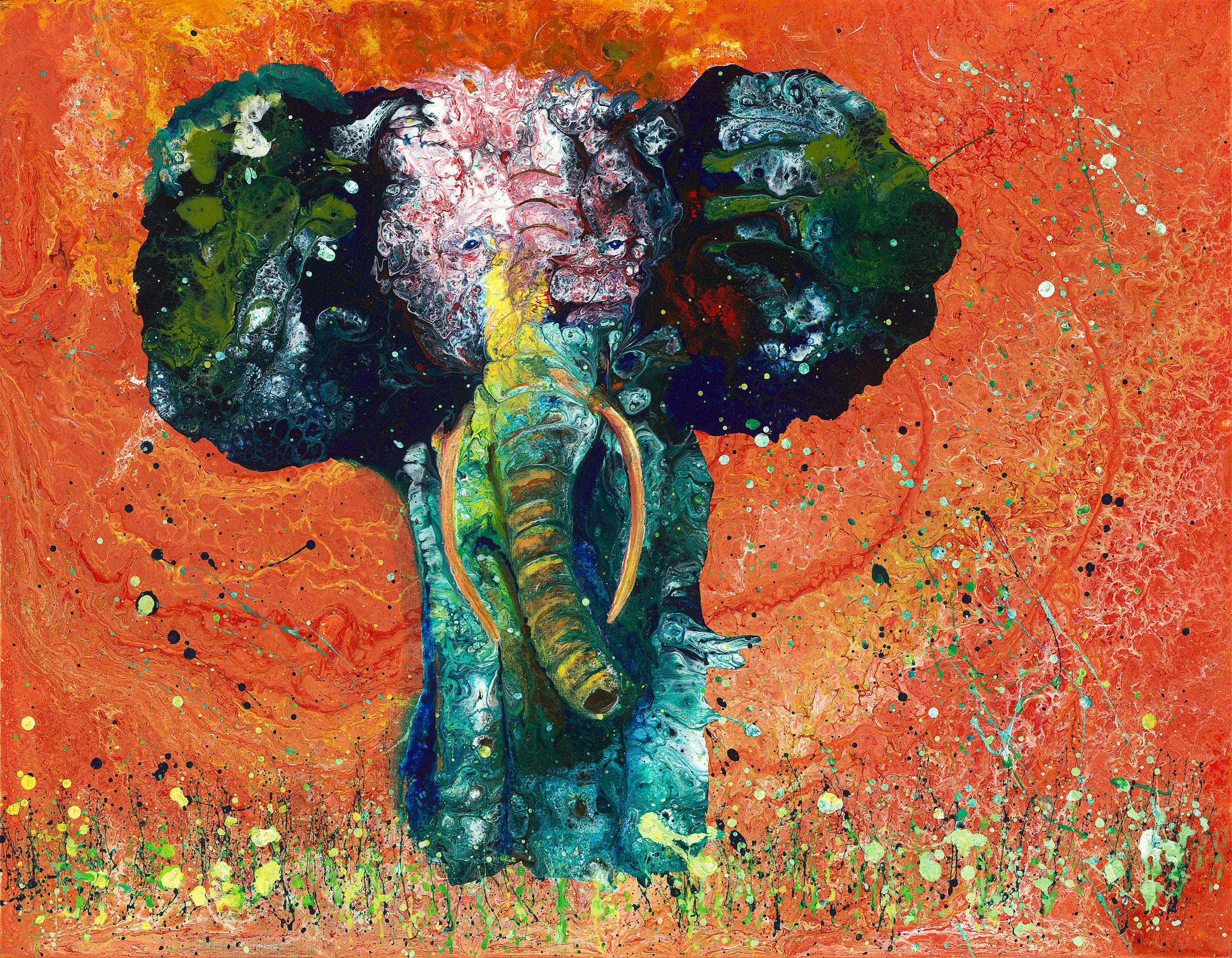 "Painted Elephant   I created this painting using poured acrylics. First I did a pour, blowing paint around the canvas with a straw and developed a more or less ""orange"" background with some interesting topographic textures. A few weeks later I poured 4 puddles of paint on this painted background and, again using a straw, I finessed this  Painted Elephant  out of the puddles. I used a brush, tapped against my sink to create the splatter effect and I also used a small brush to pull down the tusks and provide definition to the trunk.  The original is 14x18 and framed for $375. It is also available in various sizes, on either fine art paper or canvas as an archival giclee print. Please ask for a quote. Thank you!"