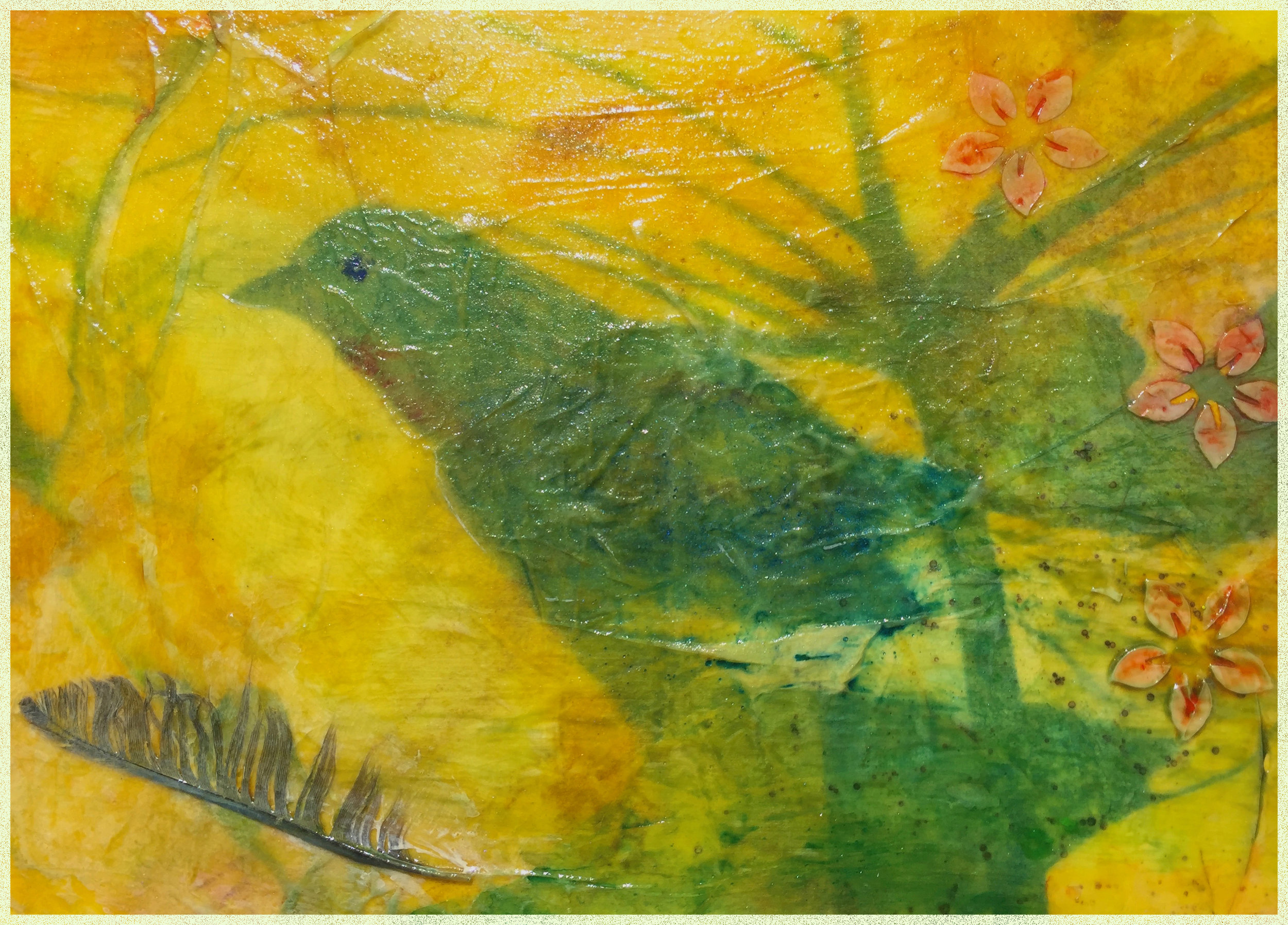 "This was a fun exercise. This is a 5x7 inch canvas panel that I was asked to ""make art on"" and return to the Sacramento Fine Arts Center to be part of a fundraiser next month. The ""bird"" is really just leaf shapes, which I had never noticed before. The leaf print is one I made in Africa and printed on rice paper using an intaglio process called ImagOn. I did some acrylic glazing before and after, added some texture and finished with some watercolor touches. This is definitely part of my  breaking out  series where I am trying things I've never tried before and busting through self-imposed boundaries... Stay tuned! And thanks for checking in."