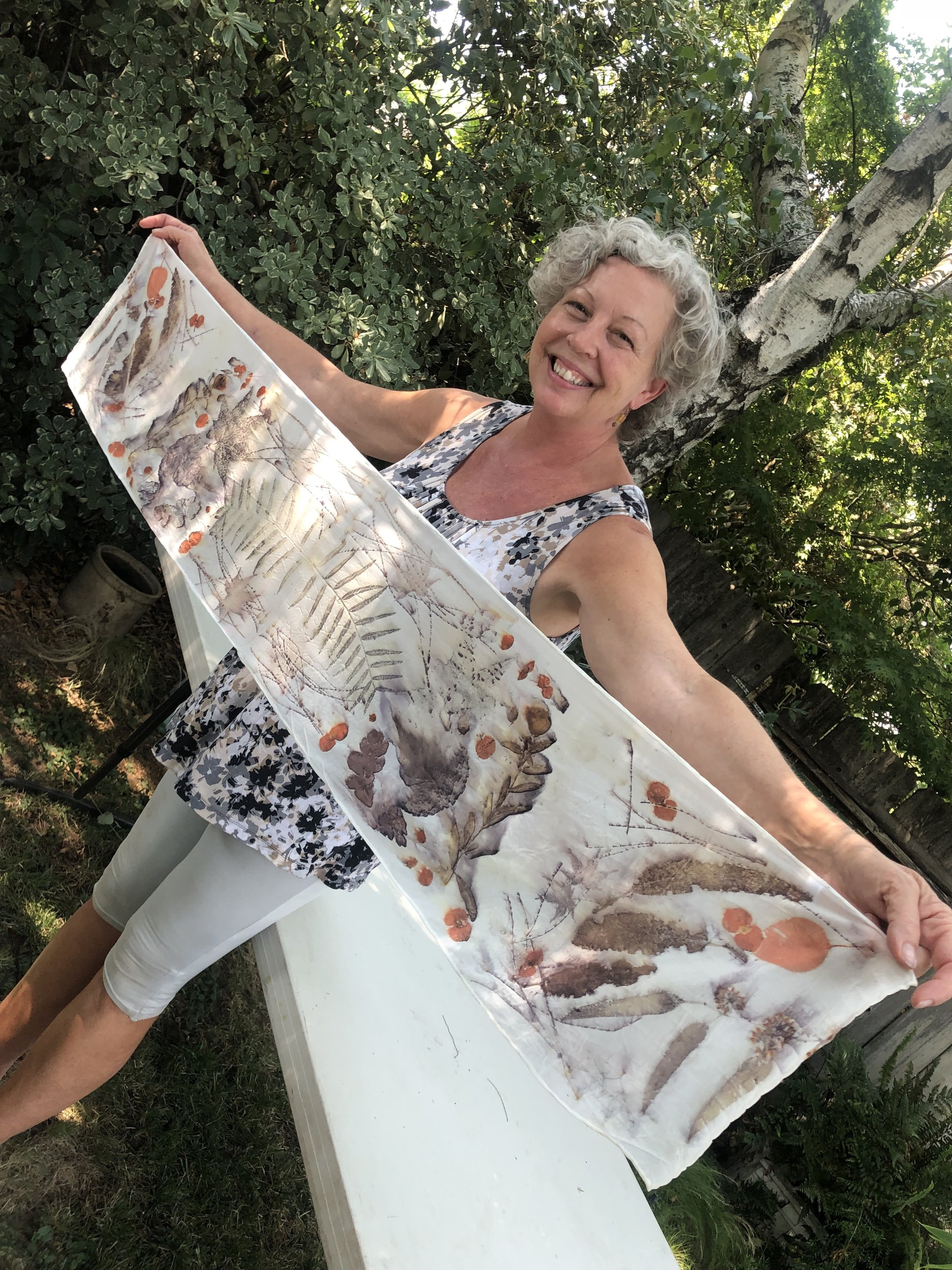 I LOVE learning new things! In August I was taught the art of Eco-Printing or Botanical printing. I could go on for DAYS about all the details but suffice it to say you can turn a plain piece of silk into a beautifully printed scarf using leaves from the neighborhood and a little bit of secret sauce! Classes coming…