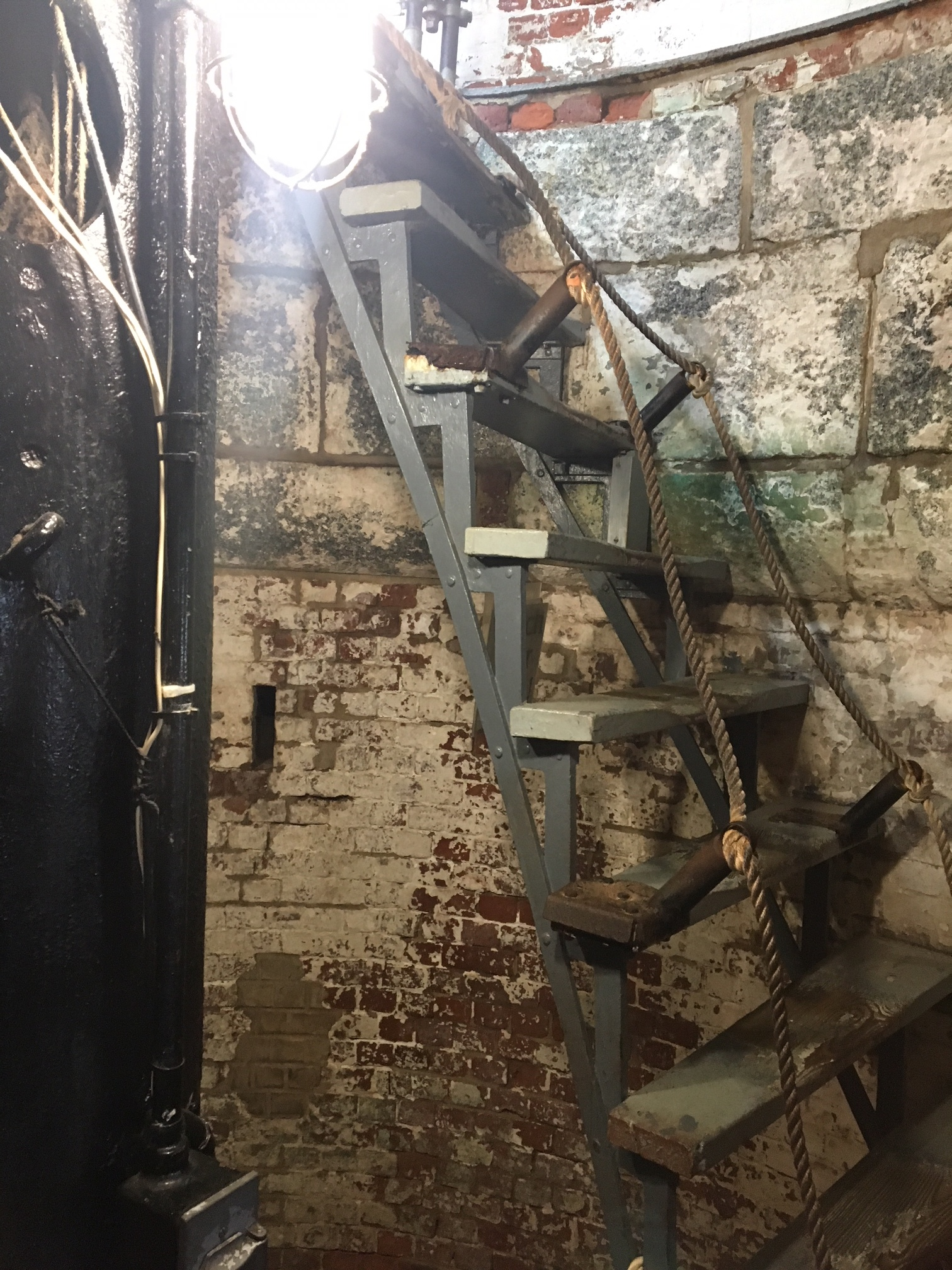 Top portion of stairs before restoration.