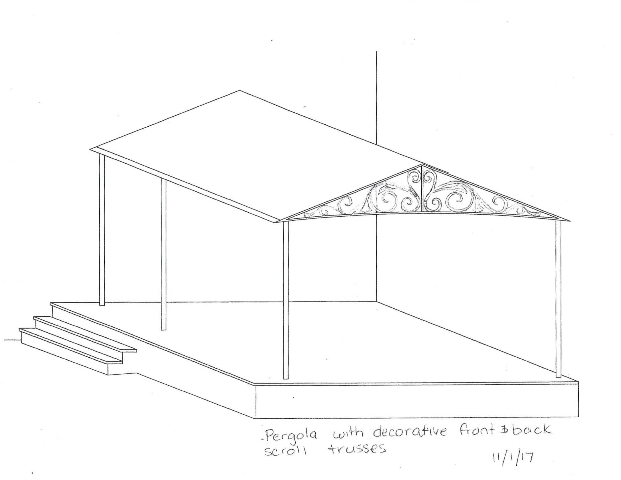 Here is an initial sketch of the proposed  pergola.  This design sketch was presented to our prospective clients for their approval.   It is typical for a designer to create multiple sketch options for presentation.  Design revisions are  also common during this phase.