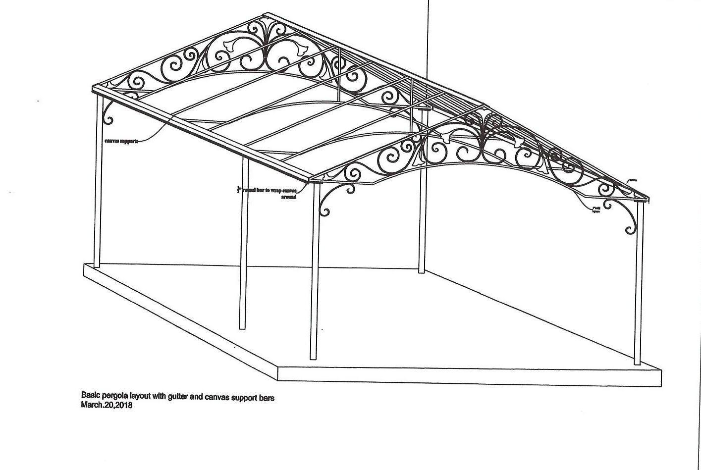 "Once  the final design and budget is approved by  the clients, we create accurate  technical ""shop"" drawings that will be used by our craftspeople during the building process.  Above is a quarter view ""shop"" drawing of the pergola."