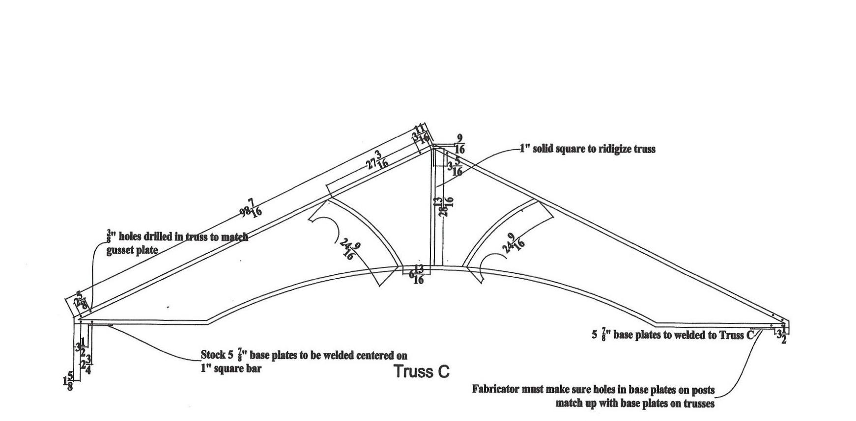 Here is an elevation drawing of one of the pergola's trusses.  This information provided on this drawings like these include: material sizes, overall dimensions, hole locations, and other various details important to the shop floor.