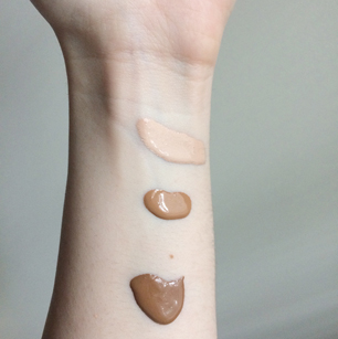 Top to bottom: Make Up For Ever Ultra HD liquid foundation in shades R230, Y455, Y505