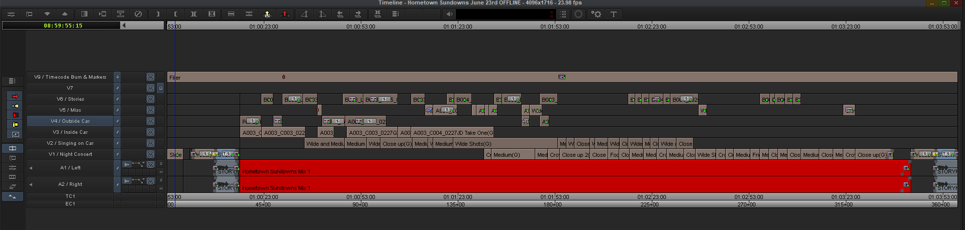 This is the initial rough cut I did. It got a tonne of multi-cams (or grouped clips as Avid calls it) on top of one another to make choosing takes easy. Couple that with the extremely power trimming tools in Media Composer and this was a dream to edit this way.