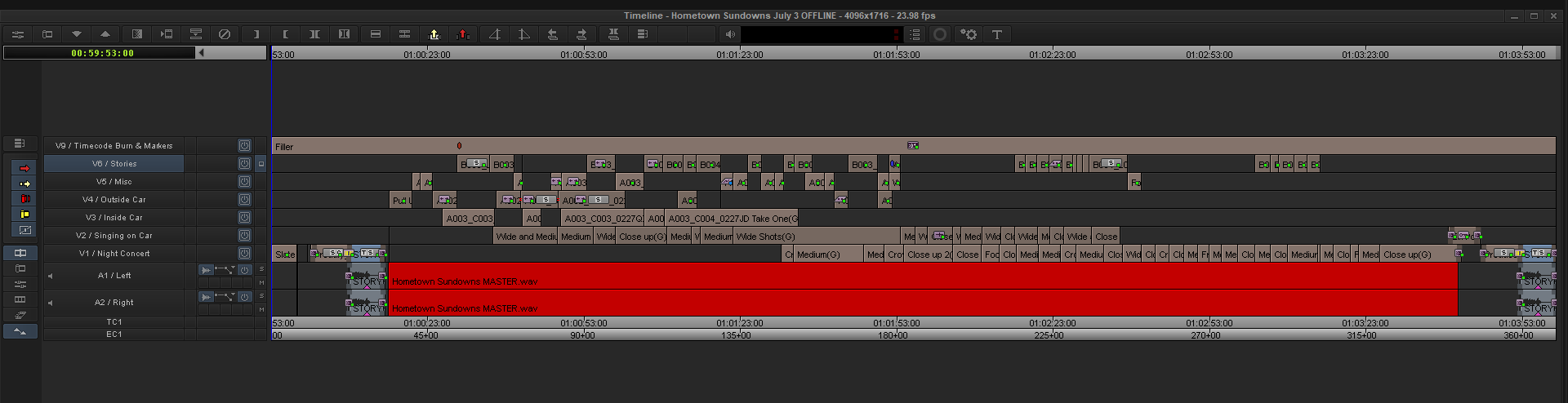 Not much difference here from how the timeline looks stand point but many shots have changed move or been replaced.