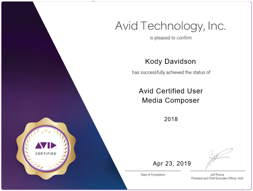 Avid Certified User Media Composer - Becoming an Avid Certified User for Media Composer verifies that you possess a fundamental understanding of and the capability to use Media Composer, together with a firm grasp of the core skills, workflows, and concepts of non-linear editing on the Avid Media Composer system.
