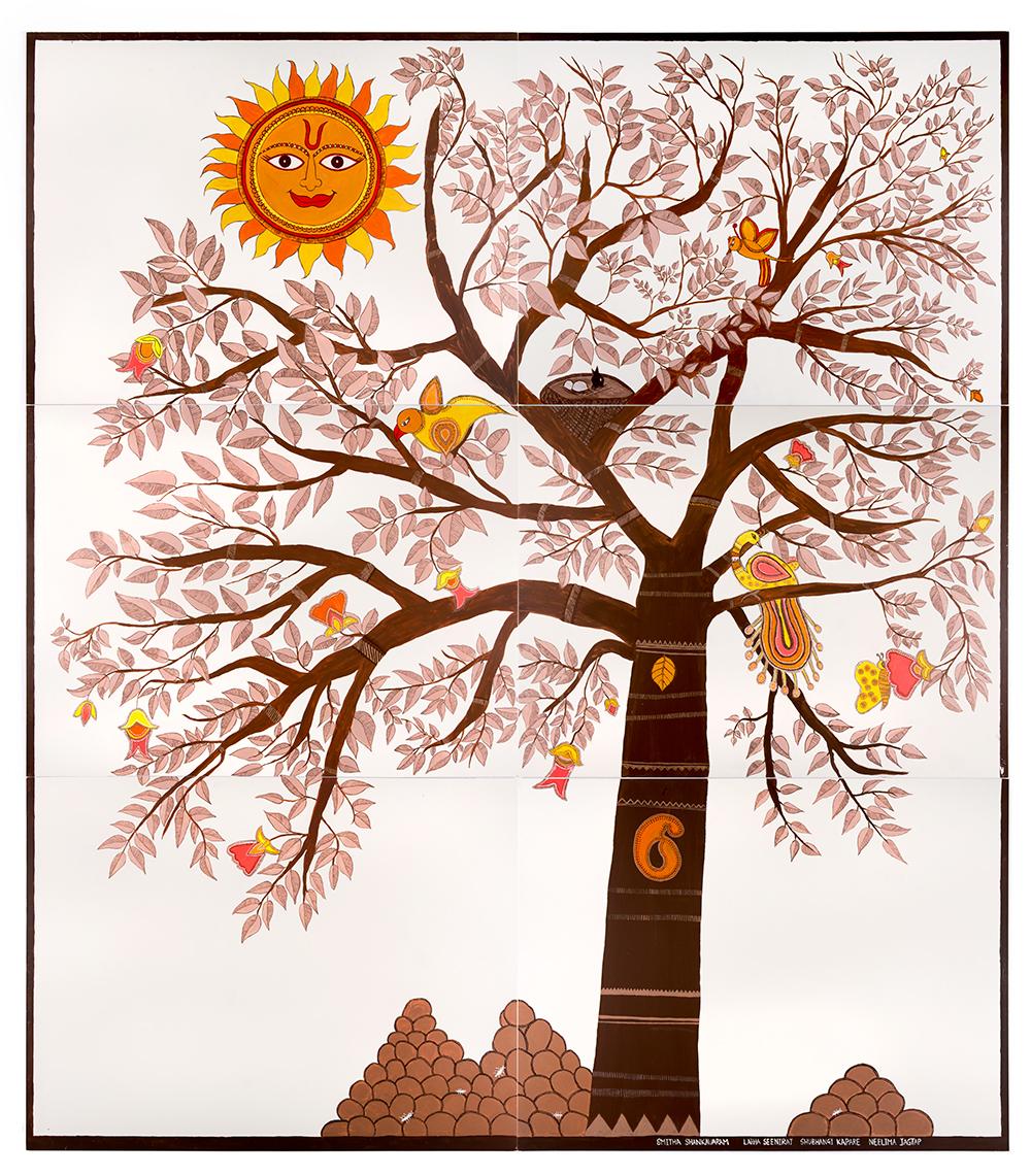 The Women's Creative Group   (Latha Seeniraj, Smitha Shankavaram, Shubhangi Kapare, Neelima Jagtap),   Madhubani Tree of Life  , 2017  ,   acrylic on wood   ,   240 x 270 cm (6 x panels 120 x 90 cm)  ,   courtesy of the artist  ,   photography by Jessica Maurer.