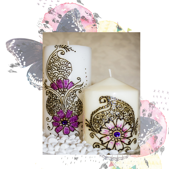Henna decorated candles with Magic Carpet