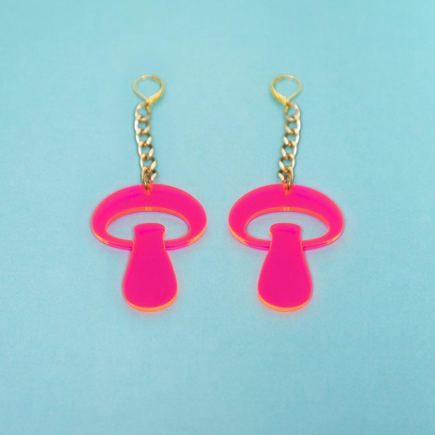 MindFlowers_Inner_Mushroom_Med_Fluroescent_Pink_Chain_Gold_Earring_1024x1024@2x.jpg