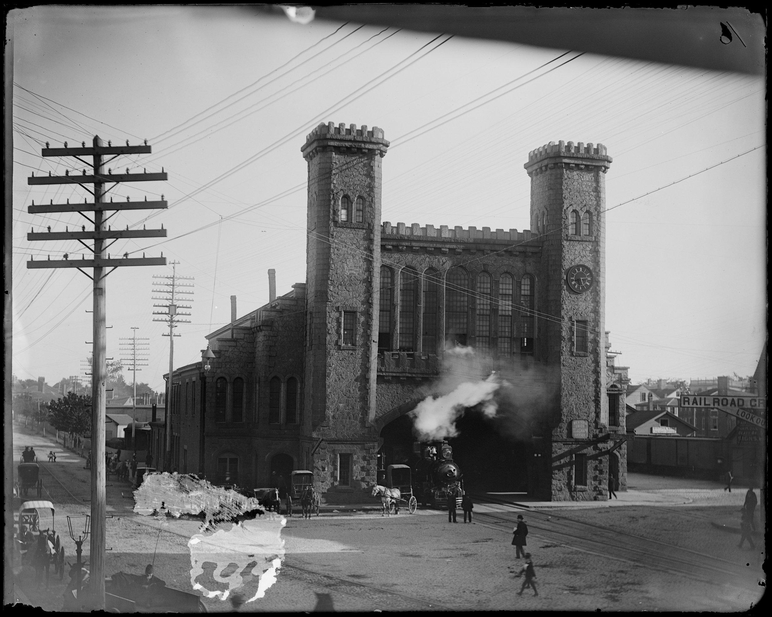 """Salem, Norman and Washington Street junction, Boston Maine Railroad depot, erected 1847"""