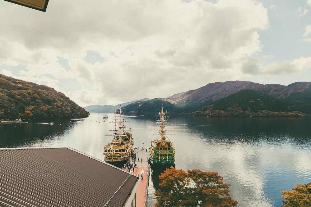 Lake Ashinoko sightseeing cruise boats getting ready to depart