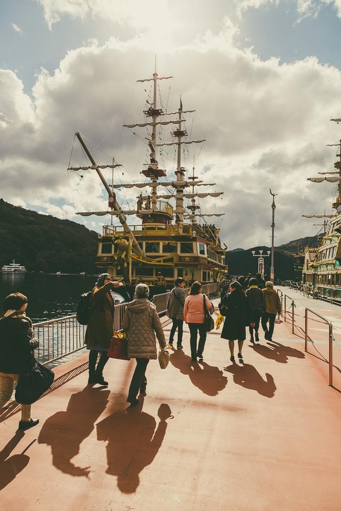 Boarding the Lake Ashinoko Sightseeing Cruise boat in Hakone