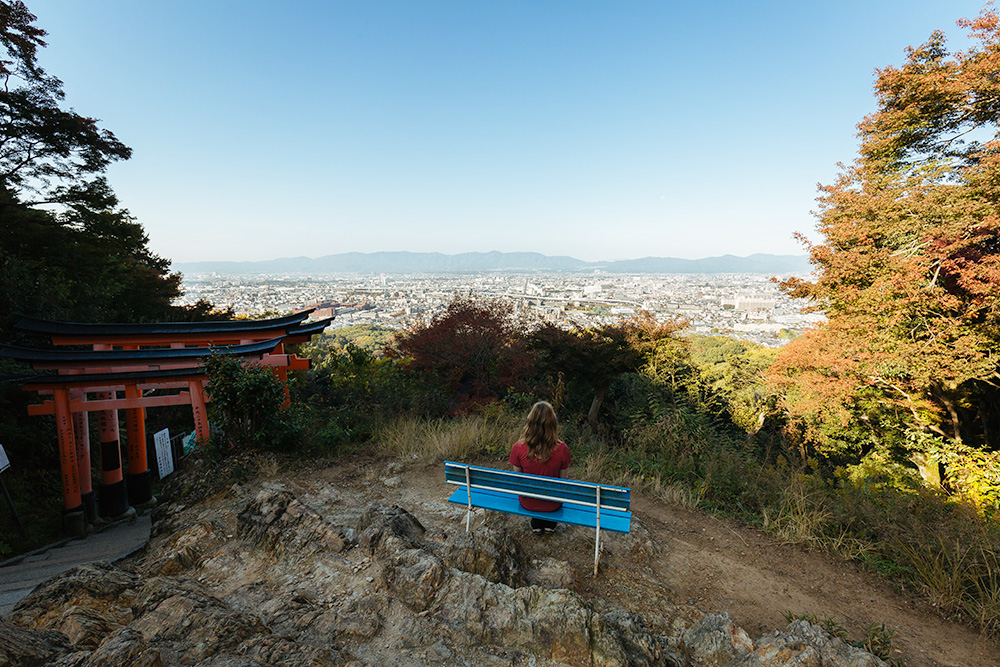 Looking out over Kyoto from near the top of the mountain at Fushimi Inari Shrine