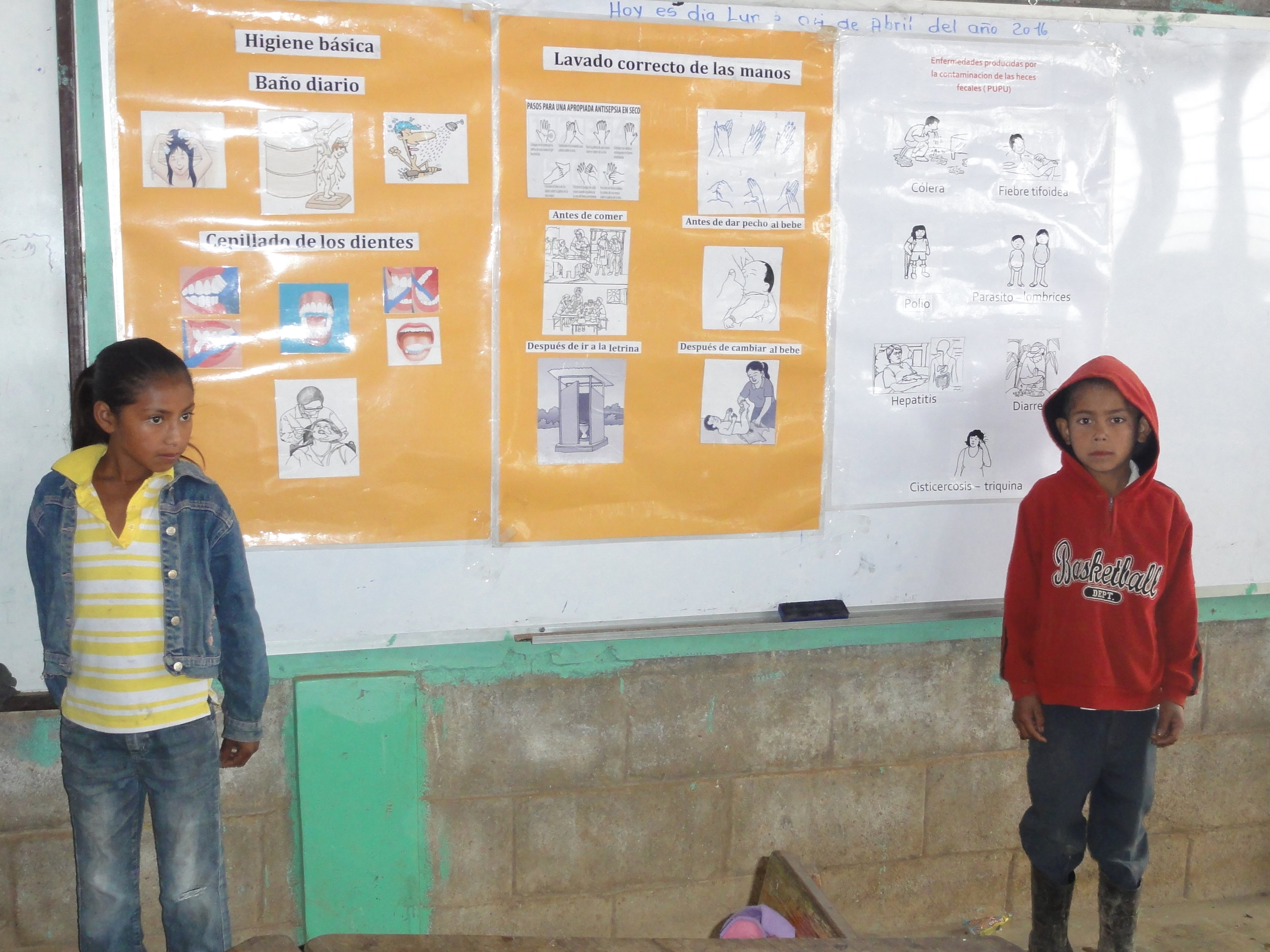 school children learning about sanitation and healthcare