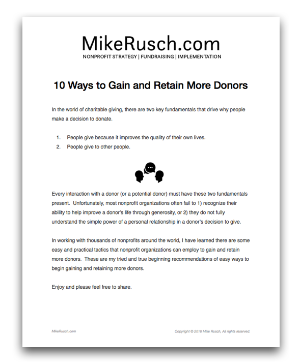 MikeRusch_com_10_Ways_to_Gain_and_Retain_More_Donors_pages.png