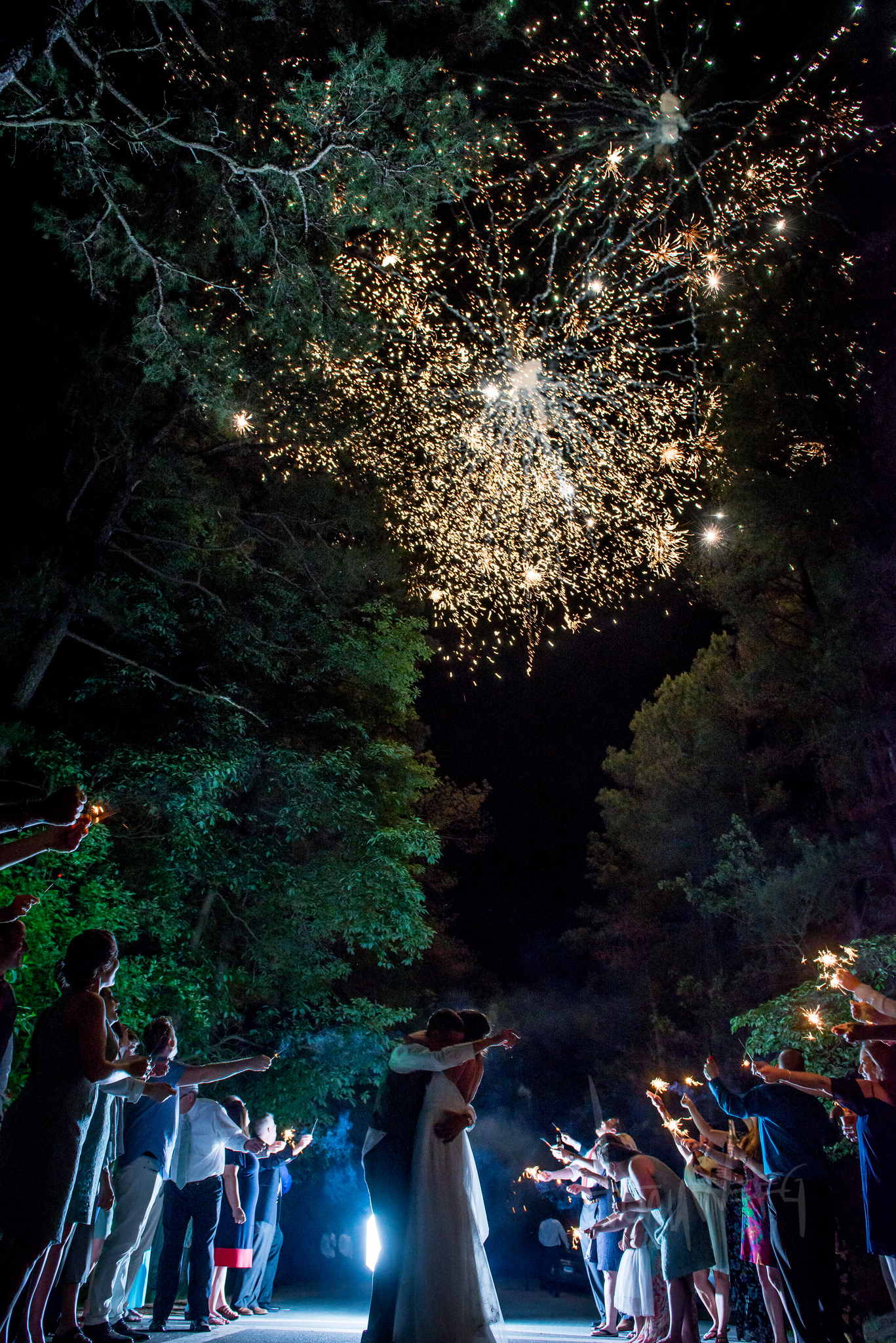 The most amazing fireworks and sparkler exit I've ever photographed. Location: Furnace Town Living Historic Village.  From the wedding of Jodi and Ted Moore