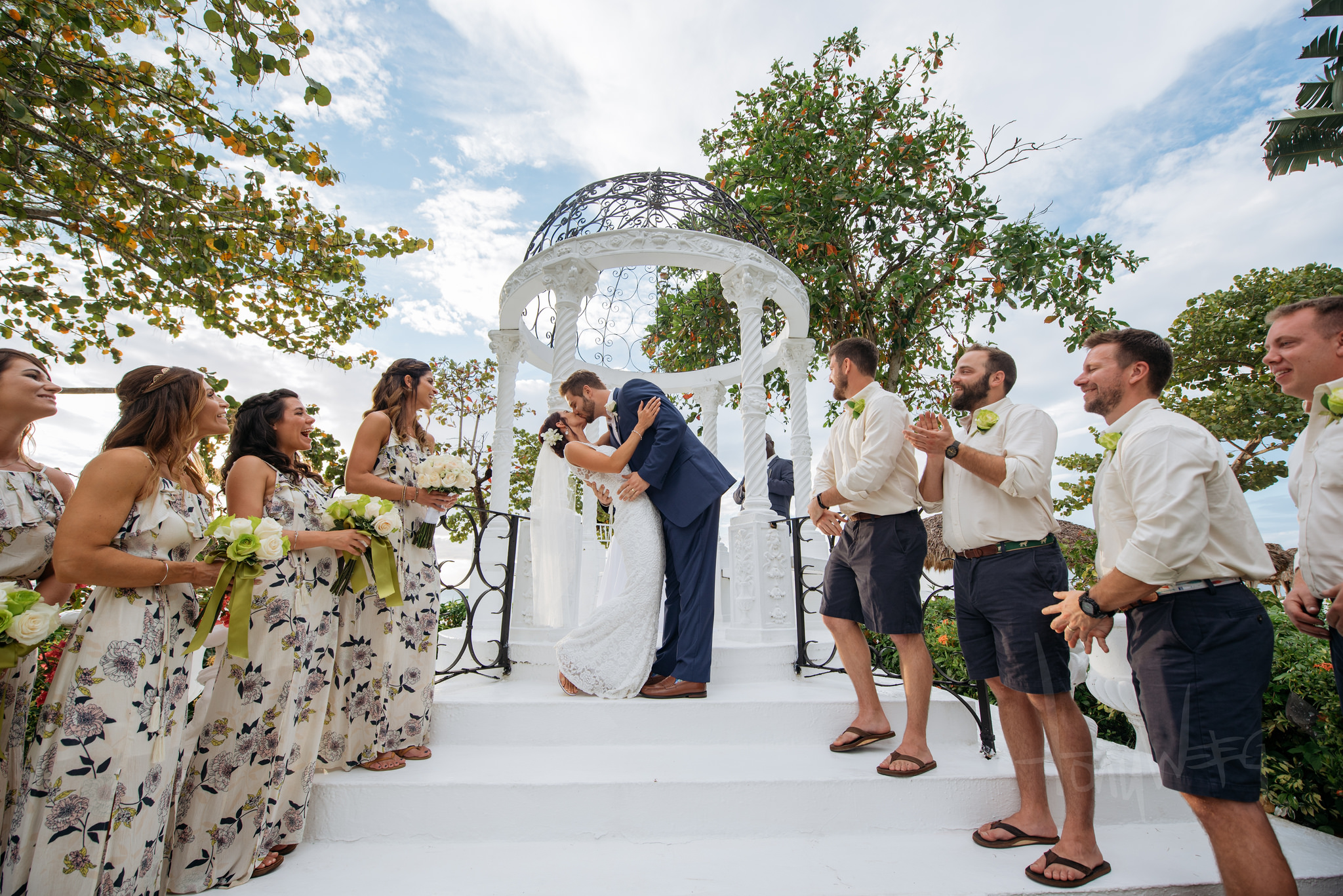 Lauren and Joey Gilkerson and 80 of their closest friends ventured down to Negril, Jamaica, took me with them, and oh - what a time it was! Here's their first kiss as husband and wife.