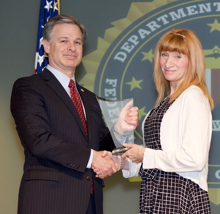 Sally Hazelgrove receiving the Community Leadership Award.