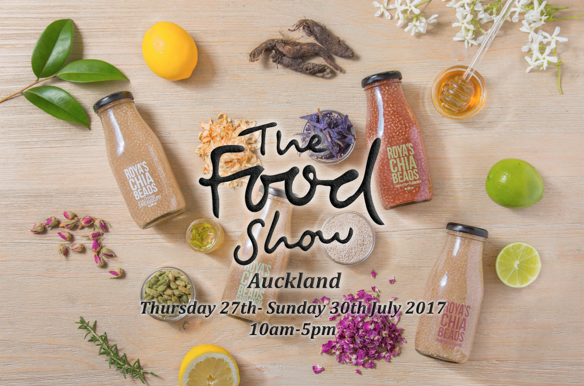 The Roya's Chia beads team are going to be at the  Auckland Food Show 2017 !  We are stationed at  stall number A9 in the main hall .  Come say Hi and try our delicious flavours!