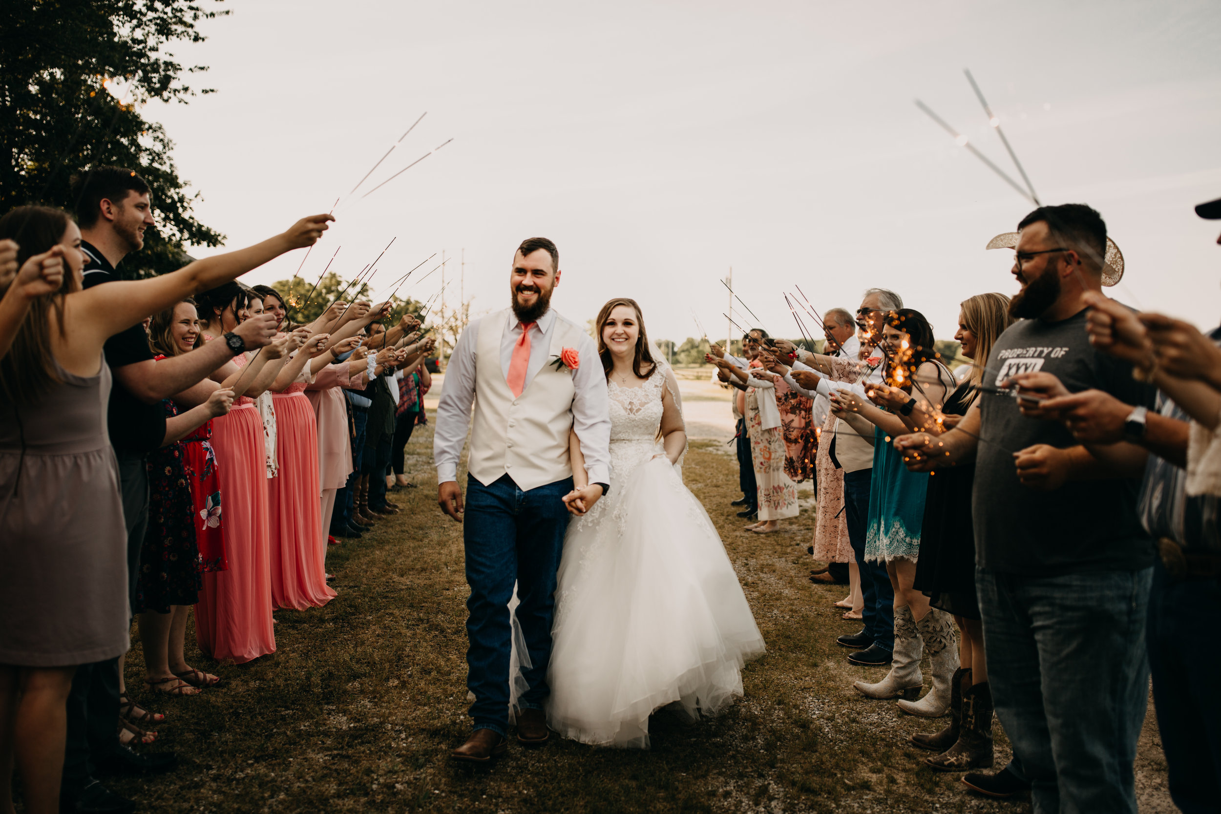 bride and groom sparkler exit from wedding