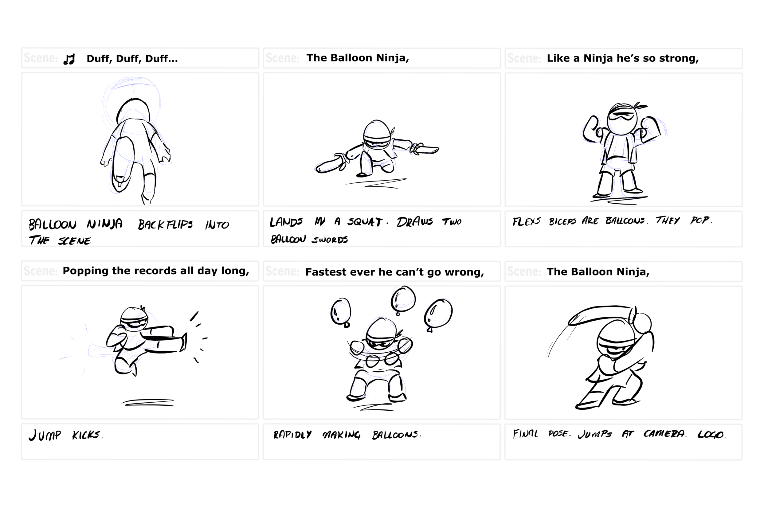 Initial storyboard pitch. A quick 6 panel image I used to help explain the character animation I made when looking into the brief.