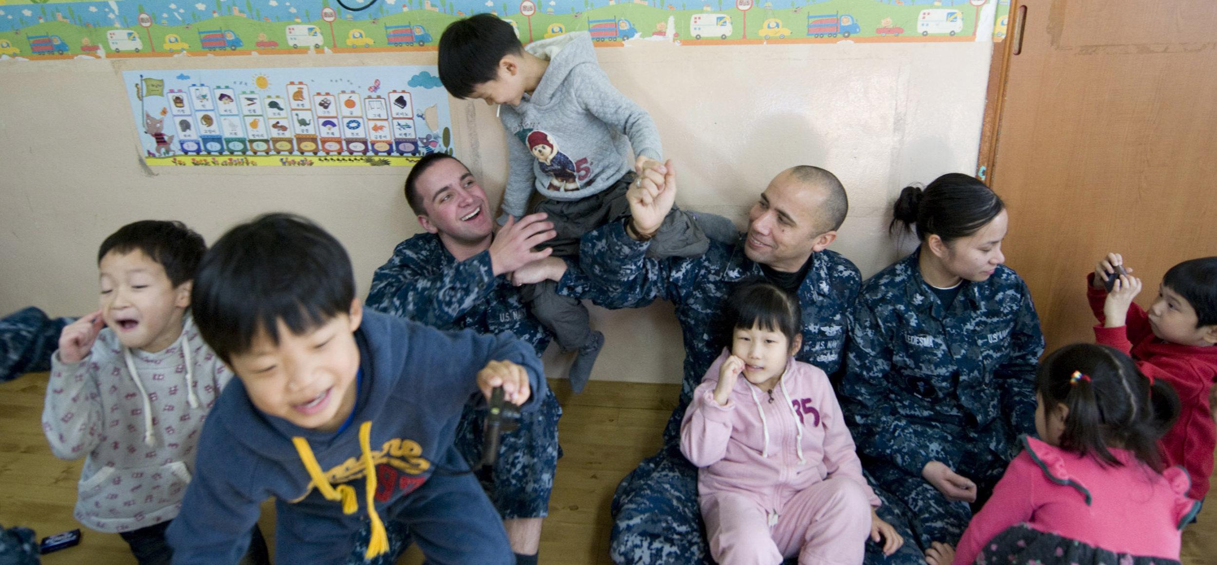 Image: USS Carl Vinson Sailors volunteer at Korean orphanage