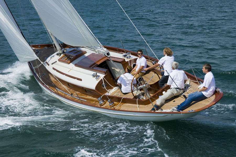 The builders enjoy a sail on the Fairlie 55